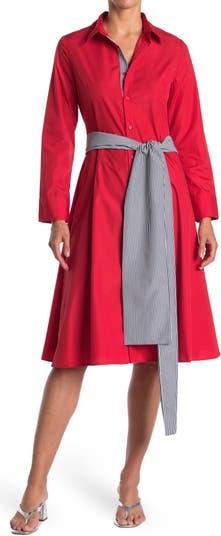 Платье-рубашка А-силуэта в полоску с завязками на талии TOV