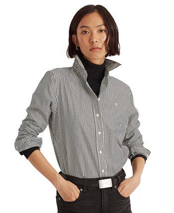 Рубашка из хлопка в полоску большого размера, не требующая особого ухода Ralph Lauren