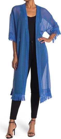 Mesh 3/4 Sleeve Fringed Kimono Duster BCBGeneration