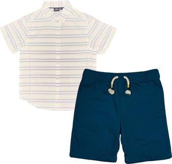 Полосатая рубашка на пуговицах и шорты BEAR CAMP