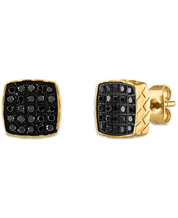 Серьги с черным бриллиантом (1/4 карата) из нержавеющей стали, созданные для Macy's Esquire Men's Jewelry
