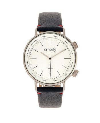 Кварц 3300 белый циферблат, часы из натуральной темно-синей кожи 43 мм Simplify