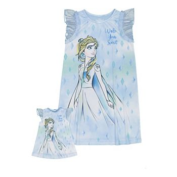 Disney's Frozen 2 Girls 4-8 Elsa Wake Your Spirit Nightgown & Matching Doll Nightgown Licensed Character