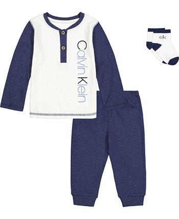 Футболка Baby Boys Baseball Henley, носки и джоггеры, комплект из 3 предметов Calvin Klein