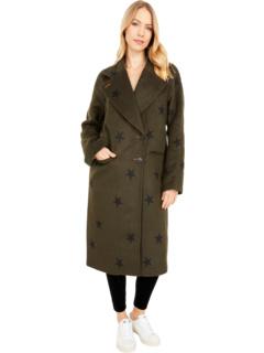 Пальто реглан из смесовой шерсти с двусторонним принтом звезд Avec Les Filles