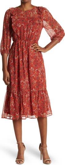 Платье миди с длинными рукавами и оборками с цветочным принтом Collective Concepts