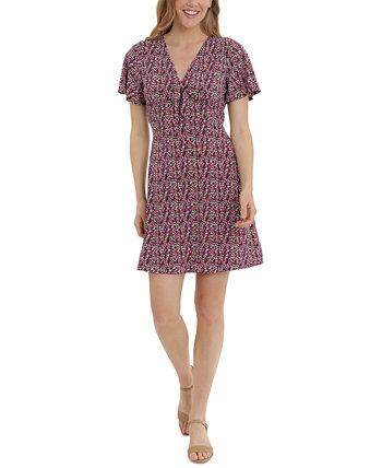 Petite Printed V-Neck Tie-Front Flutter-Sleeve Dress London Times