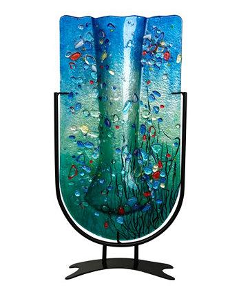 """18,5 """"x 10"""" Высокая U-образная ваза из плавленого стекла Jasmine Art Glass"""