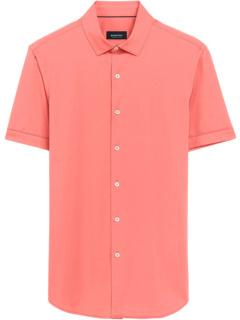 Luigi Solid Ooohcotton Tech Performance Short Sleeve Knit Shirt BUGATCHI