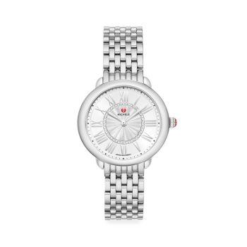 Часы Serin Mid из нержавеющей стали с бриллиантами и браслетом Michele
