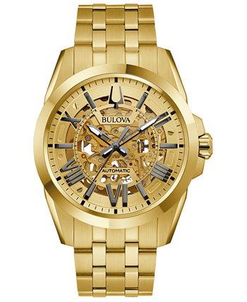 Мужские автоматические классические часы Sutton с золотым браслетом из нержавеющей стали 46 мм Bulova