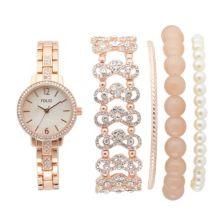 Женские наручные часы и браслет Folio с эффектом розового золота с блестками и румянами Folio
