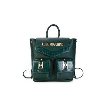 Рюкзак из искусственной кожи с тиснением под крокодила с логотипом LOVE Moschino