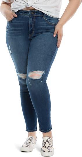 Рваные джинсы скинни 31 дюймов с высокой посадкой SLINK JEANS
