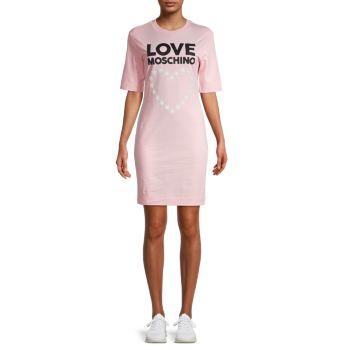 Star & Heart Logo T-Shirt Dress LOVE Moschino