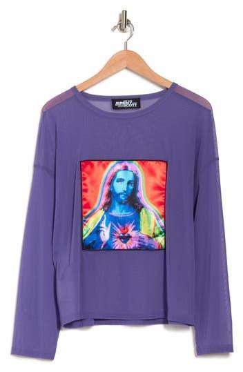 Purple Jesus Long Sleeve Shirt Jeremy Scott