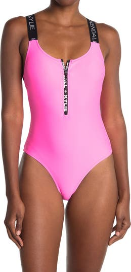 Branded Strap Zip One-Piece Swimsuit KENDALL AND KYLIE