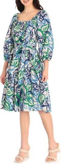 Quarter Puff Sleeve Tiered Dress Maggy London