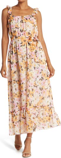 Floral Belted Crepe Midi Dress Donna Morgan