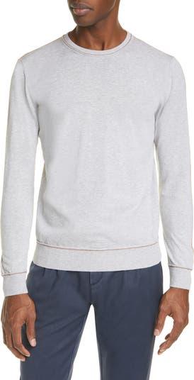 Crew Neck Contrast Slim Sweater Eleventy
