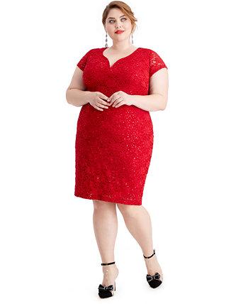Платье-футляр большого размера с металлизированным рисунком Connected