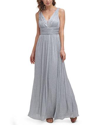 Metallic-Threaded Mesh-Inset Gown Eliza J