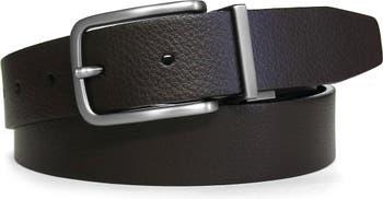 Двусторонний кожаный ремень с полированной матовой металлической отделкой, 35 мм BOCONI
