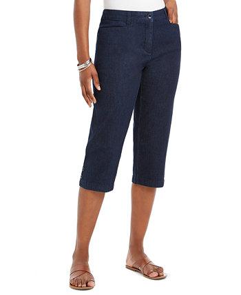 Plus Size Button-Hem Denim Capri Pants, Created for Macy's Karen Scott