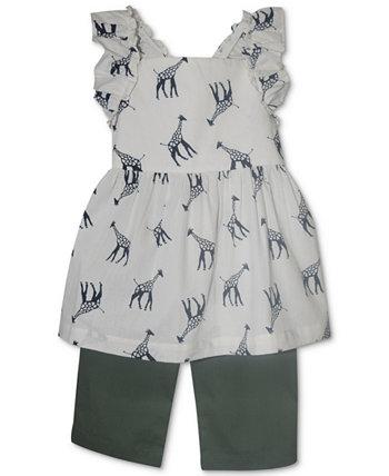 Baby Girls 2-Pc. Туника с жирафом и тканые капри Blueberi Boulevard