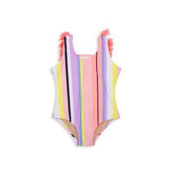 Baby Girl's, Little Girl's, & amp; Полосатый купальник с бахромой на спине для девочек Shade critters