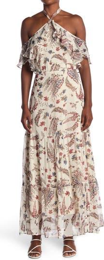 Макси-платье с открытыми плечами и цветочным принтом Lucy Paris