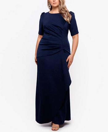 Креповое платье больших размеров с объемными рукавами XSCAPE