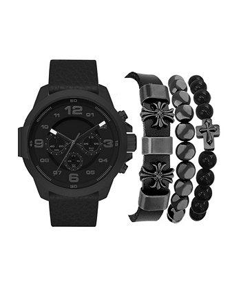 Мужские часы с черным ремешком из искусственной кожи 50 мм, подарочный набор American Exchange