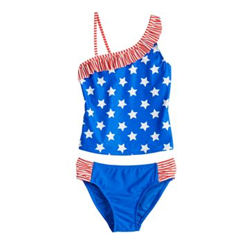 Girls 4-16 SO® Americana Tankini Top & Bottoms Swimsuit Set SO