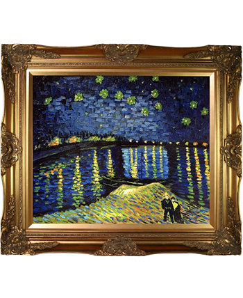 "by Overstockart Starry Night Over The Rhone by Vincent Van Gogh with Victorian Frame Oil Painting Wall Art, 32"" x 28"" La Pastiche"