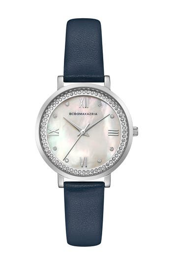 Women's Crystal Embellished Leather Strap Watch, 34mm BCBGeneration