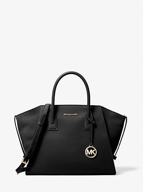 Большая сумка-портфель Avril из шагреневой кожи на молнии сверху Michael Kors