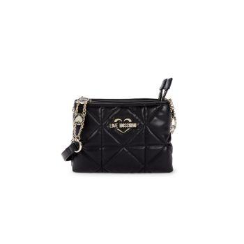 Миниатюрная сумка через плечо из фактурной искусственной кожи LOVE Moschino