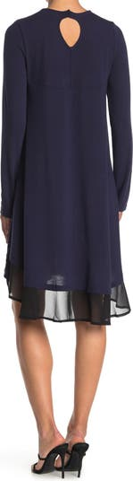 Платье прямого кроя с длинными рукавами Georgette Hem Papillon