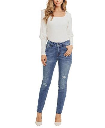 Устойчивые женские джинсы скинни с деструкцией Rubberband Stretch