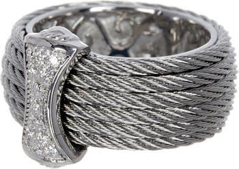 Кольцо с бриллиантами CBL из белого золота 18 карат, нержавеющей стали и серого цвета - 0,12 карата ALOR