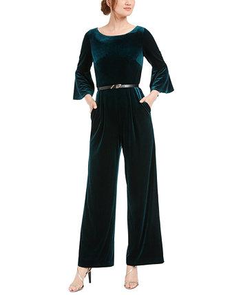 Бархатный комбинезон большого размера с широкими штанинами и поясом с короткими рукавами Calvin Klein