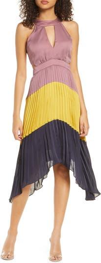 Плиссированное платье с цветными блоками Harlyn