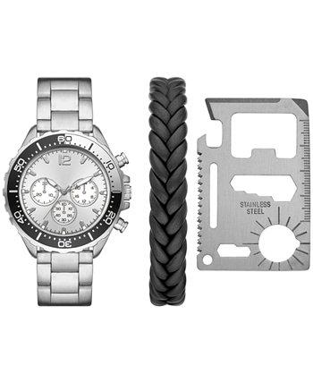 Мужские серебряные часы-браслет 46 мм, подарочный набор Folio