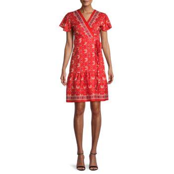 Платье с цветочным принтом и развевающимися рукавами STELLAH