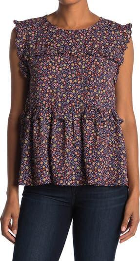 Ярусная блузка без рукавов с цветочным принтом и оборками Everleigh