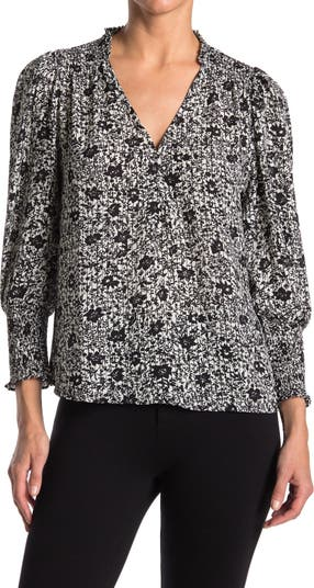 Блуза со сборками на рукавах с цветочным рисунком ECLAIR