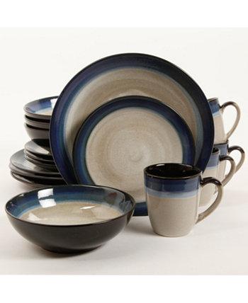 Couture Bands Набор столовой посуды из 16 предметов, синий, сервиз для 4 человек Gibson