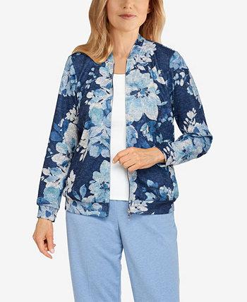 Удобная куртка с цветочным принтом больших размеров Relax and Enjoy Alfred Dunner