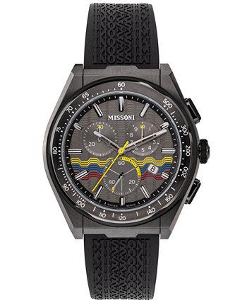 Мужские швейцарские часы с хронографом M331 с черным каучуковым ремешком 45 мм Missoni